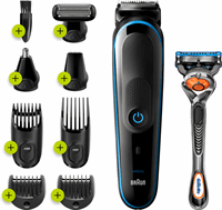 Braun All-in-one MGK5280 9-in-1 Trimmer, Baardtrimmer Voor Mannen, Bodygroomer En Haartrimmer, Zwart/Blauw