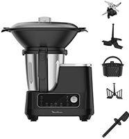 Moulinex HF4568 Click Chef keukenmachine met kookfunctie (1400 watt, 12 snelheden, totaal volume: 3,6 liter, 28 functies, incl. accessoires en receptenboek) zwart