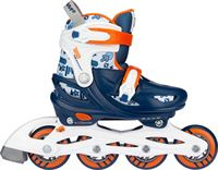 Nijdam Inline Skates Verstelbaar - Traffic Racer - Marine/Oranje/Wit/Zilvergrijs - 25-28