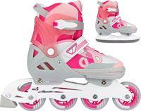 Nijdam Skates Combo Verstelbaar - Bold Berry - Fuchsia/Zilvergrijs/Wit/Roze - 33-36