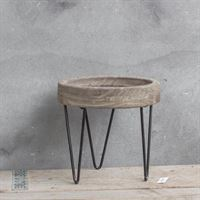 Kolony Decoratie tafeltje grey wash Small 18 cm hoog