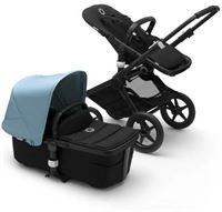 Bugaboo Fox 2 kinderwagen/stoel/reiswieg, zwart frame/zwarte stof /vapor blue zonnekap