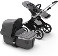 Bugaboo Fox 2 kinderwagen/stoel/reiswieg, aluminium frame/gem?leerd grijze stof/gem?leerd grijze zonnekap