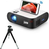 AUN W18C Mini LED Projector met Mira Cast en Statief - Mini Beamer Home Media Speler