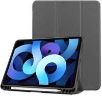 qMust iPad Air 4 2020 Smart Tri-Fold Case met Pen houder - Grijs grijs