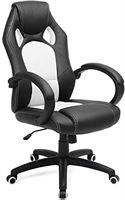 Songmics Racestoel, bureaustoel, gamingstoel, managersstoel, draaistoel, PU, zwart-wit, OBG56BW