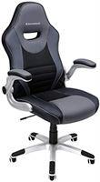 Songmics OBG63BG Bureaustoel, ergonomische draaistoel, met inklapbare armleuningen, nylon sterren, draagvermogen 150 kg, zwart/grijs