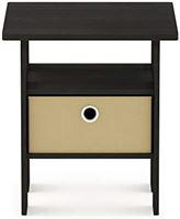 Furinno Andrey Bin Drawer Nightstand End Table Transctioneel. 1-Pack espresso/bruin
