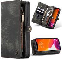 CaseMe Luxe Lederen 2 in 1 Portemonnee Booktype iPhone 12 Pro Max hoesje - Zwart