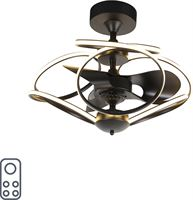 QAZQA Design plafondventilator zwart met afstandsbediening - Kauv