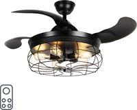 QAZQA Plafondventilator zwart met afstandsbediening 5-lichts - Gaiola