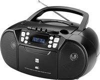 Dual DAB-P 210 cassetteradio met CD - DAB (+)/FM-radio - Boombox - CD-speler - stereo luidspreker - USB-poort - AUX-ingang - netvoeding / batterij - draagbaar zwart