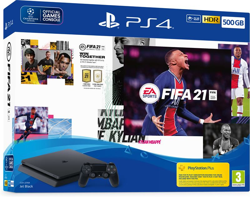 Sony PlayStation 4 Slim + FIFA 21+ PS plus 14 dagen subscription 500GB / zwart / FIFA 21