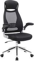 Songmics OBN86BK Bureaustoel, draaistoel, bureaudraaistoel met hoofdsteun, inklapbare armleuningen, kantelfunctie, zwart