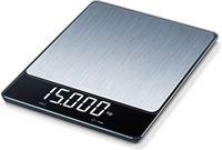 Beurer KS 34 XL stainless steel keukenweegschaal van roestvrij staal voor nauwkeurig wegen tot 15 kg, met handige tarra-weegfunctie, hold-functie en Magic led-display, roestvrij staal
