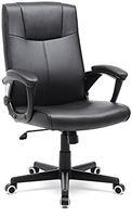 Songmics OB932B Bureaustoel van Pu, Sluitvast, In Hoogte Verstelbare Draaistoel met Ergonomisch Design, Zwart
