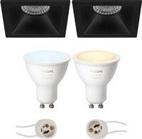 Philips Hue Voordeelset - LED Spot Set GU10 - White Ambiance - Bluetooth - Pragmi Pollon Pro - Inbouw Vierkant - Mat Zwart - Verdiept - 82mm