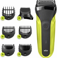 Braun Series 3 Shave&Style 300BT Elektrisch Scheerapparaat, Scheermes Voor Mannen, Zwart/Volt Green