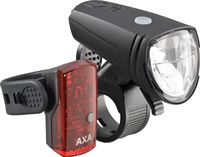 Axa LED Verlichtingsset V+A Greenline Fietsverlichting - USB Oplaadbaar - 25 Lux - Zwart