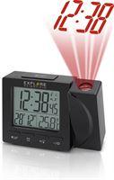 Explore Scientific RDP1001S radio gestuurde digitale projectiewekker | Groot display | Dag - Datum aanduiding | Thermometer | Zwart