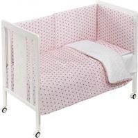 Interbaby ledikant met beddengoedset Monet 120 x 60 cm roze/wit