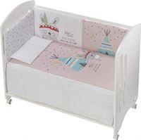 Interbaby ledikant met beddengoedset Lovely tipi 120 cm wit/roze