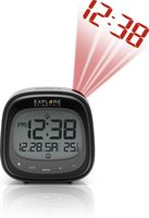 Explore Scientific RDW3007S Radio gestuurde digitale projectiewekker | Groot Touchscreen Display | Datum aanduiding | Binnen thermometer | Zwart - Grijs