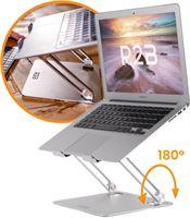 R2B Laptop Standaard - Verstelbaar en Opvouwbaar - 10 t/m 17 inch - Laptopstandaard - Laptoptafel - Laptophouder - Zilver - Cadeau