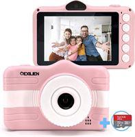 Exilien HD kindercamera 1080P incl. 32 GB Micro SD card- digitale kindercamera-kindercamera-roze kindercamera -kindercamera meisje -3,5 inch kindercamera - vlogcamera kind - kindercamera met videofunctie - camera voor kinderen -32GB Micro SD card