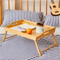 Decopatent Bamboe inklapbare bedtafel voor op bed met dienblad - Houten Bedtafeltje - Laptoptafel - Ontbijt Bed - Bank dienblad