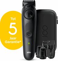 Braun BeardTrimmer BT7 Baardtrimmer voor heren, Haartrimmer, Design Editie met Reisetui - Zwart