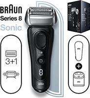 Braun Series 8 8450cc elektrisch scheerapparaat voor heren, 3+1 scheerkop met precisiestrimmer, Sonic-technologie, 40°-kop met contouraanpassing, Wet & Dry