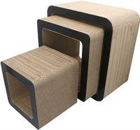 4animalz 4animalz® Cube Black - kartonnen krabpaal katten - 45x24x45cm - Zwart
