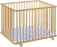 Cabino Babybox Inklapbaar Met In Hoogte Verstelbare Bodem - Kinderbox - Babybox Met Wielen - Beech