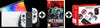 Nintendo SWITCH OLED WIT + METROID DREAD + SWITCH GAMING BUNDEL