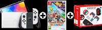 Nintendo SWITCH OLED WIT + PAPER MARIO + SWITCH GAMING BUNDEL