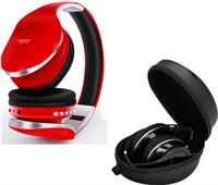PunnkFunnk P18 Bluetooth Koptelefoon met Opbergtasje - Opvouwbaar Headset DJ Headphones Rood
