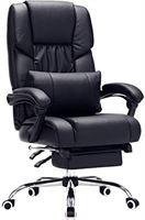 Songmics Bureaustoel met voetensteun en lendenkussen, imitatieleer, zwart, 67 x 66 x 116 cm OBG71B