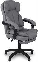 Trisens Bureaustoel, ergonomische bureaustoel, managersstoel met gevoerde armleuningen en hoofdsteun, in hoogte verstelbaar, 360 graden, draaistoel van stof, kleur: lichtgrijs