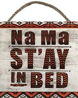 Barry Goodman Na Ma St'ay in Bed Houten Blok, Multi-Color, 20 x 20cm