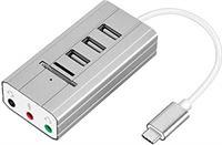 LEVEL GREAT USB Hub Soundkaarten o Output Type-C Adapter USB Type-C externe Sound Splitter Externe Geluidskaart PC Laptop SD TF-kaartlezer