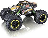 Bauer Spielwaren Maisto Tech R/C Rock Crawler Pro serie: op afstand bestuurde auto in monstertruck-uitvoering, met vierwielaandrijving en pistoolgreep afstandsbediening, 38 cm, zwart (581334)