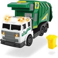 Dickie Toys City Cleaner, wegvoertuig, wegreiniging, vuilnisauto, op batterijen aangedreven lift voor vuilnisbak, achterklep om te openen, kantelfunctie, incl. batterijen, 39 cm, groen, vanaf 3 jaar